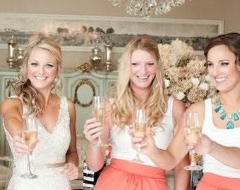 CUSTOM Gathered Pencil Coral Wedding Skirt