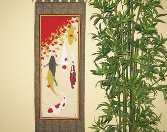 Quilted Wall Hanging Koi Pond and Maple Leaves Japanese Asian Design Tenugui Scroll Size