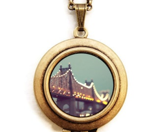 NY Bridge - New York Bridge Photo Locket Necklace