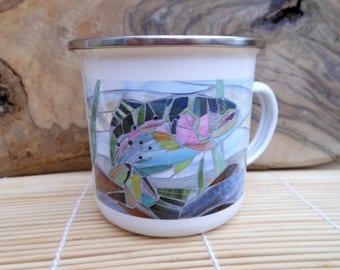 Trout & Terns Enamel Mug - Camping Mug - Rainbow Trout Mug Terns Mug Fisherman's Mug Gardening Gift for Fisherman Camping Gift Gardening Mug