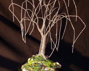 Steel Willow  Wire Tree Sculpture on Glass Base