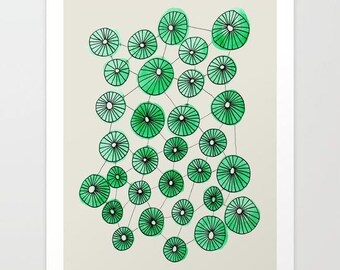 abstract modern watercolor and ink drawing- geometric art- wall decor- wall art- modern home decor- green-black-white- watercolor circles