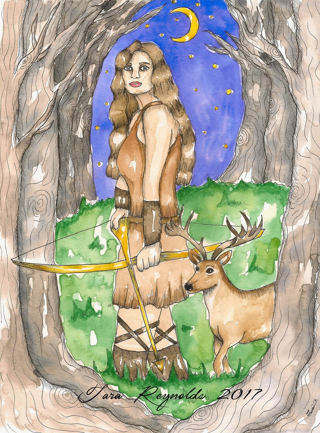 goddess art original artemis watercolor painting pagan art
