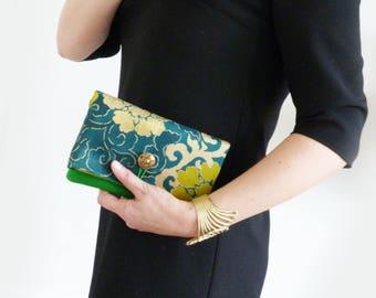 Envelope clutch, emerald green decorative vintage Japanese obi fabric, green evening purse