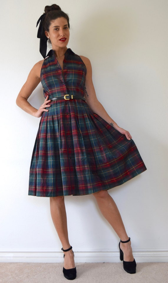 SPRING SALE/ 20% off Vintage 50s inspired Tartan Plaid Taffeta Pleated Shirt Waist Dress (size small, medium)