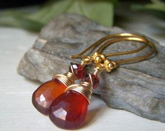 Hessonite Earrings, Garnet Earrings, Hessonite Garnet Wirewrapped Drop Earrings, Goldfilled Briolette Gemstone Earrings, Teardrop Earrings