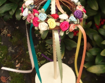 BeltaneTabletop Maypole Box with ribbons and ribbon rose flower circlet