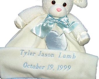 Custom Embroidered Lenny Lamb Lovie Baby Toy with Baby's Name and Date of Birth if Desired