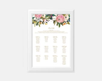 printable wedding seating chart, seating chart sign, Large Custom Wedding Sign, Blush and Gold Wedding Decor, Wedding Guest Sign, Floral