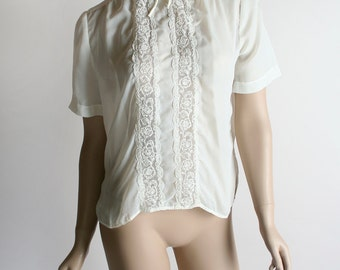 Vintage 1960s Sheer Nylon Blouse - 1950s Style Cream White Button Up Lace Blouse - Medium