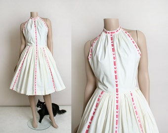Vintage 1950s Pat Premo Halter Dress - Pink Hearts on White Cotton - Summer Day Dress - Fit and Flare - Rockabilly Pin-Up Style - Small
