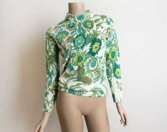 Vintage Floral Print Sweater - Angora Soft Furry Emerald Green & White 1970s Sweater - Small
