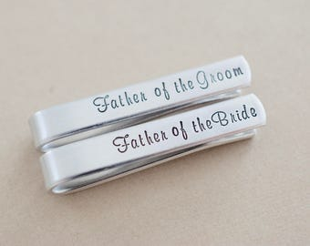 Tie Bar Wedding Set - Father of the Bride Tie clip - Father of the Groom Tie clip - Wedding Tie Clips