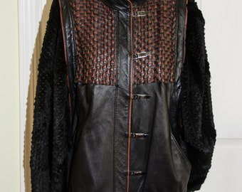 Vintage Leather and Fur Jacket by Grunstein Couture
