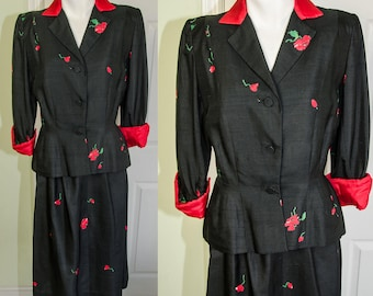 Vintage 1940's Designer Ben Reig Floral Print Silk Suit Ensemble