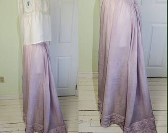 Vintage Edwardian Light Purple Cotton Long Lawn Skirt with Ruffles