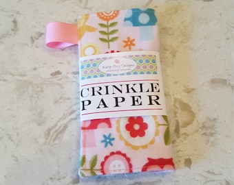 Crinkle Paper, Noise Making Toy for Infants, Pink Owls, by Kaity-Bug Designs