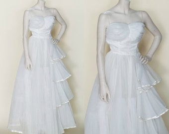 1950s Strapless Wedding Dress --- Vintage Princess Wedding Gown