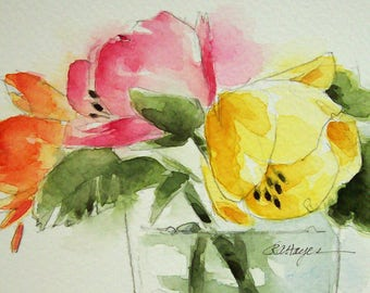 Colorful Flowers in Glass Vase Original Watercolor Painting Garden Floral Bouquet