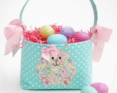 Fabric Easter Basket bunny Applique aqua polka dot
