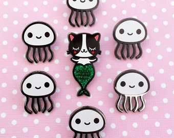 Mermaid Cat Purrmaid Enamel Pin & her Jellyfish sidekick