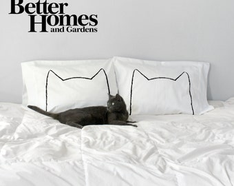 Cat Nap Pillowcase Set, as seen in Better Homes & Gardens, decor for Cat Lover couples gift set, Cotton Pillow cases, cat ears, gift for her