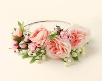 Peach rose crown, Lily of the valley wreath, Woodland floral head wreath, Bridal hair crown, Pink flower wreath, Pastel flower crown