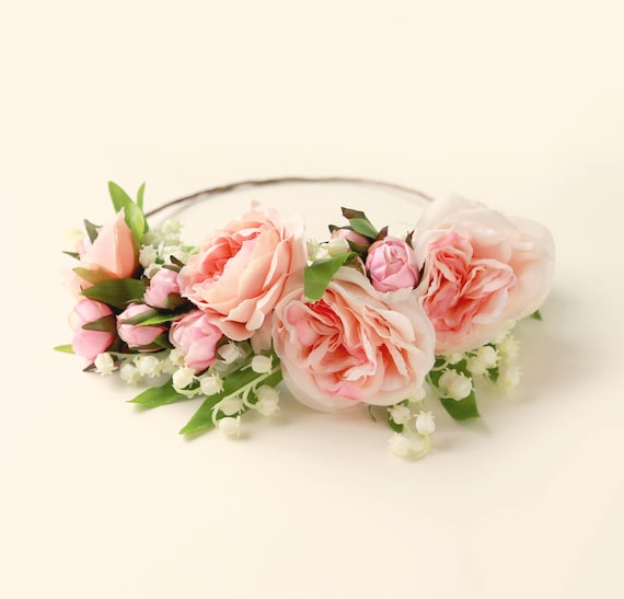 Peach rose crown, Lily of the valley wreath, Woodland floral head wreath, Bridal hair crown, Pink flower wreath, Pastel flower crown