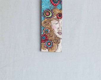 Mother Nature Mosaic Wall Art Boho Decor Mosaic Wall Art Vertical Art Wall Art Ceramic Wall Art Stick Mini Clay Tile Narrow Art Gift for Mom
