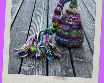 NEWBORN Photography Prop - Baby Knit Hat - Twin Props - Elf - Handdyed and Handspun yarn