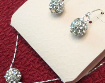 Stunning Rhinestone Ball Pendant Necklace Matching Pierced Earrings Demi-Set Lady's Gift Wedding Spring Easter Mom Glamour Disco Ball