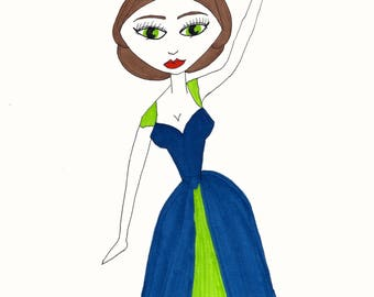 Of Movement original ink illustration on paper, woman, dancing
