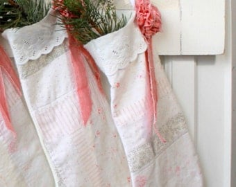 ONLY TWO LEFT,Family Christmas Stocking,Hand Sewn, stockings, handmade, Farmhouse Christmas Stockings, Vintage Quilt, Country style,