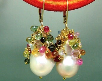 14k Gold GF Baroque Keshi Pearl Multi Sapphire Briolette Gemstone Earrings