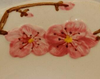 1950's Saucer Peach Blossom by Metlox - Poppytrail - Vernon / Spring time Peach Blossom pattern, Tea Party Saucers