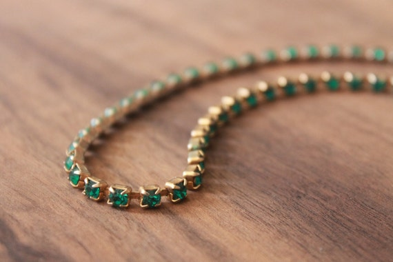 Antique 1920s Pave Paste Rhinestone Necklace • Vintage 1920s Art Deco Necklace • Emerald Green Stones Clasp Necklace