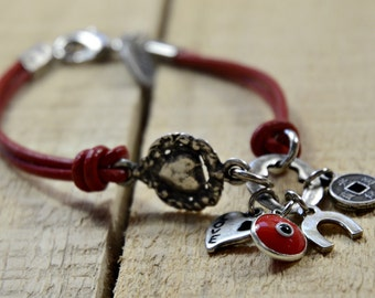 Red Leather Evil Eye, Feng Shui & Horseshoe Good Luck Charms Bracelet