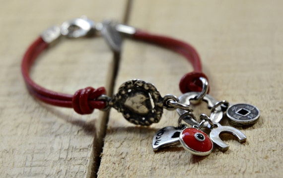 Red Leather Evil Eye, Feng Shui & Horseshoe Good Luck Charms Bracelet