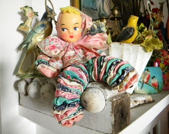 Vintage Rubber Faced Yoyo Doll Pink and Turquoise with Bells