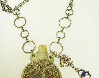 Tree of Life  Oil Bottle Pendant Necklace Elephant Hamsa Hand  Oil Bottle  Ashes Vessel  Urn  Oil Diffuser