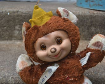 Vintage Ideal Toy Rubber Face Polka Dot Clown Bear Doll