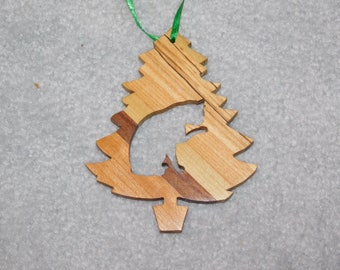 Wood Christmas Tree Ornament -  Cat-1