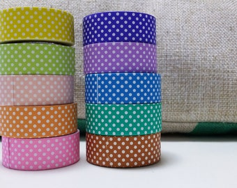 Decoration tapes - 3 pcs cute colors polka dot paper tape embellishment stickers - choose your colors (Package treasury)