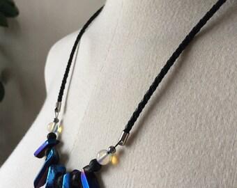 Mystic river necklace / quartz necklace / cosmic blue quartz / statement necklace / moonstone / leather / lava / frige necklace