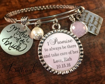Mother of the BRIDE gift, Mother of the Groom gift, PERSONALIZED jewelry, Mother in law, charm bracelet, BANGLE, Winter wedding jewelry