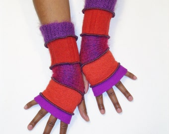 Fingerless Gloves, Armwarmers, Patchwork gloves (Fuschia/Burnt Orange/Mohair Magenta Ombre/Deep Red/Mohair Purple Violet ) by BrendaAbdullah