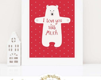 Bear nursery decor, bear printable, i love you this much, printable gift, Instant Download 8x10, Personal use only