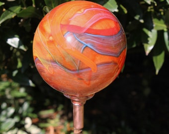 NEW ITEM Red Orange Cosmic Hand Blown Glass Orb or Garden Ball Art Sculpture Outdoor Decoration