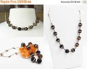 ON SALE Vintage Art Deco Banded Agate Bead Necklace, Sterling Silver, Gold Vermeil, Wired, Twisted, 12mm Beads, Superb & Rare! #b907