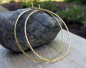 XXL Gold Fill Hoops, Gold Hammered Hoop Earrings, 2 Inch Hoops, Extra Large Gold Hoops, Classic Hoops, Modern Jewelry, Skinny Hoops, Boho